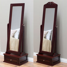 Load image into Gallery viewer, Full Length Tilting Cheval Mirror in Cherry Wood Finish with Storage Drawer