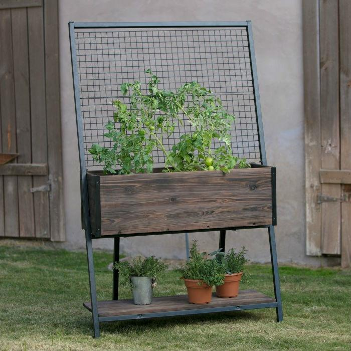 Large Dark Wood Raised Planter with Black Steel Trellis
