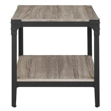 Load image into Gallery viewer, Set of 2 Modern Metal Frame End Table Nightstand in Driftwood Finish