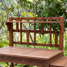 Load image into Gallery viewer, Solid Wood Potting Bench with Flip-up Sides and Garden Tool Shelf in Cinnamon