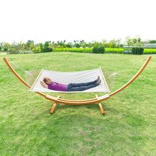 Load image into Gallery viewer, White Cotton Polyester Hammock with 15-ft Pine Wood Stand