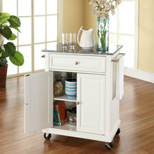 Load image into Gallery viewer, White Kitchen Cart with Granite Top and Locking Casters Wheels