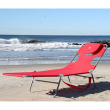 Load image into Gallery viewer, Red Chiase Lounge Beach Chair with Face Cavity and Arm Slots