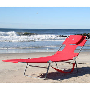 Red Chiase Lounge Beach Chair with Face Cavity and Arm Slots