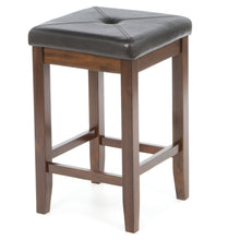 Load image into Gallery viewer, Set of 2 - Vintage Mahogany Bar Stools with Faux Leather Cushion Seat