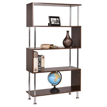 Load image into Gallery viewer, Modern Wood and Steel 4-Shelf Bookcase