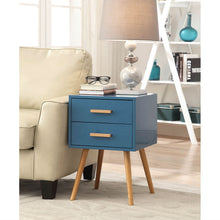 Load image into Gallery viewer, Modern Classic Mid-Century Style End Table Nightstand in Blue Finish