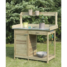Load image into Gallery viewer, Natural Fir Wood Potting Bench with Stainless Steel Table Top