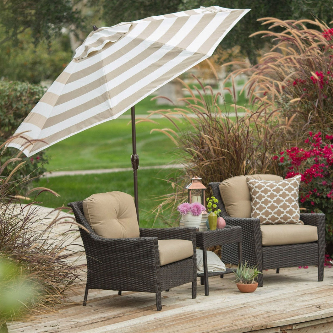 9-Ft Market Umbrella with Tilt and Crank with Beige and White Stripe Canopy