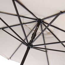Load image into Gallery viewer, 9-Ft Market Umbrella with Tilt and Crank with Beige and White Stripe Canopy