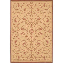 Load image into Gallery viewer, 2' x 3'9 Floret Vines Leaves Floral Area Rug in Terracotta Natural
