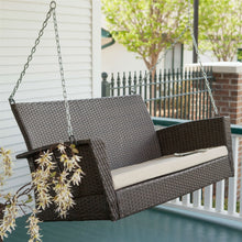 Load image into Gallery viewer, Modern Dark Brown Resin Wicker Porch Swing with Khaki Seat Cushion