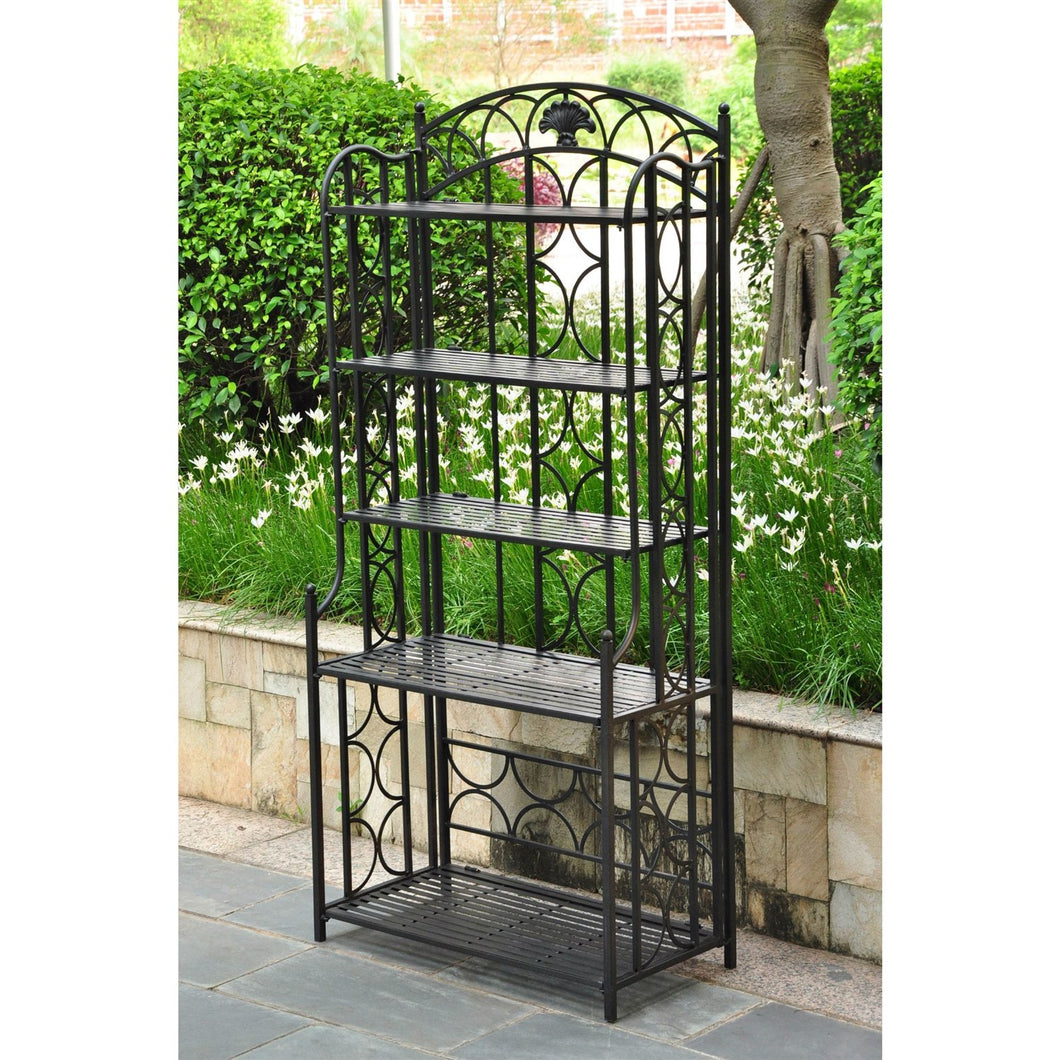 Indoor / Outdoor Wrought Iron Metal Bakers Rack 5-Shelf Plant Stand