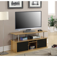 Load image into Gallery viewer, Modern 50-inch TV Stand in Light Oak / Black Wood Finish