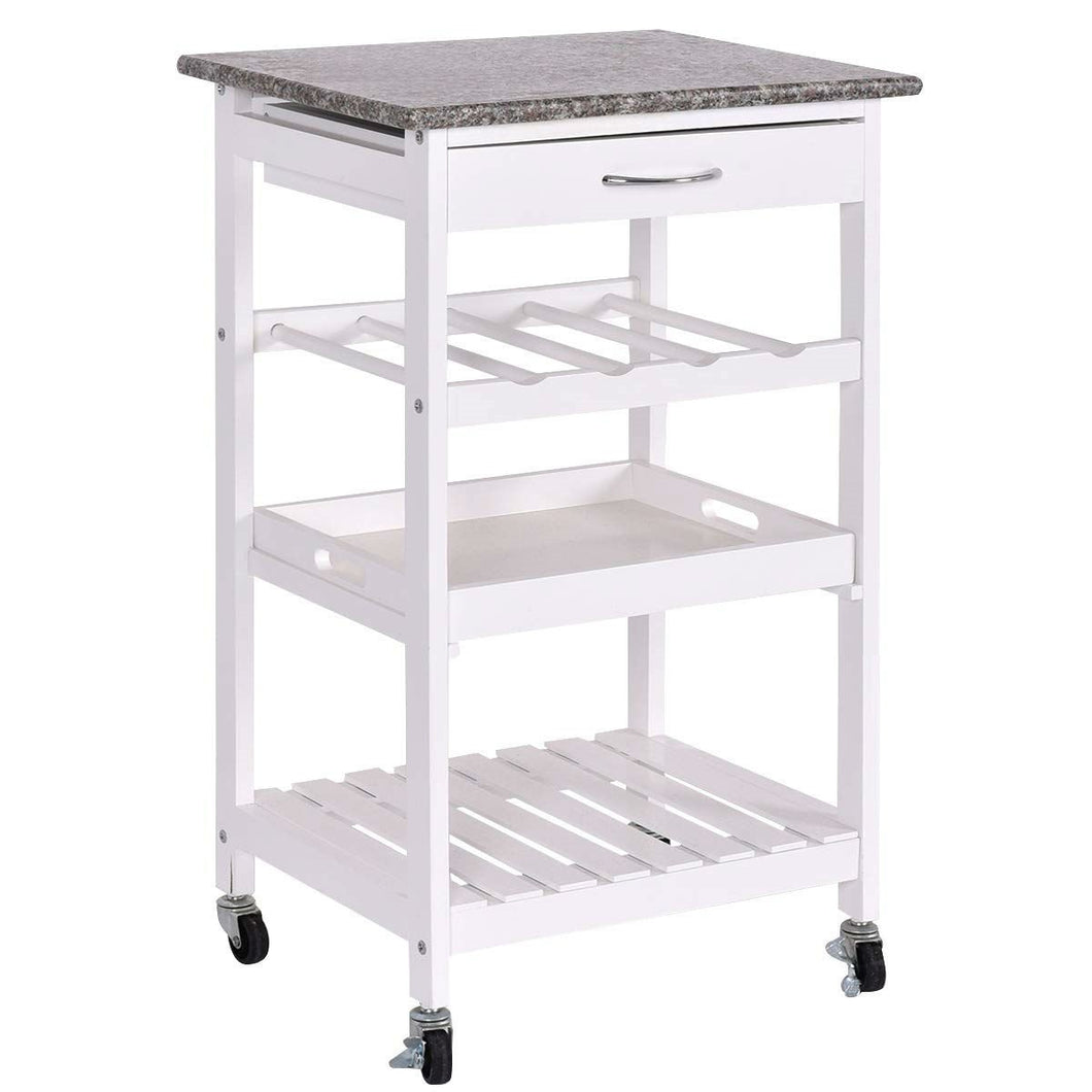 Rolling White Wood Granite Top Kitchen Island Cart