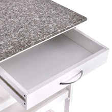 Load image into Gallery viewer, Rolling White Wood Granite Top Kitchen Island Cart