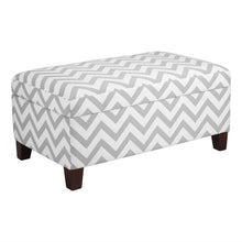Load image into Gallery viewer, Grey & White Chevron Stripe Padded Storage Ottoman Bench