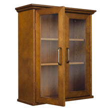 Load image into Gallery viewer, Oak Finish Bathroom Wall Cabinet with Glass  2-Doors & Shelves