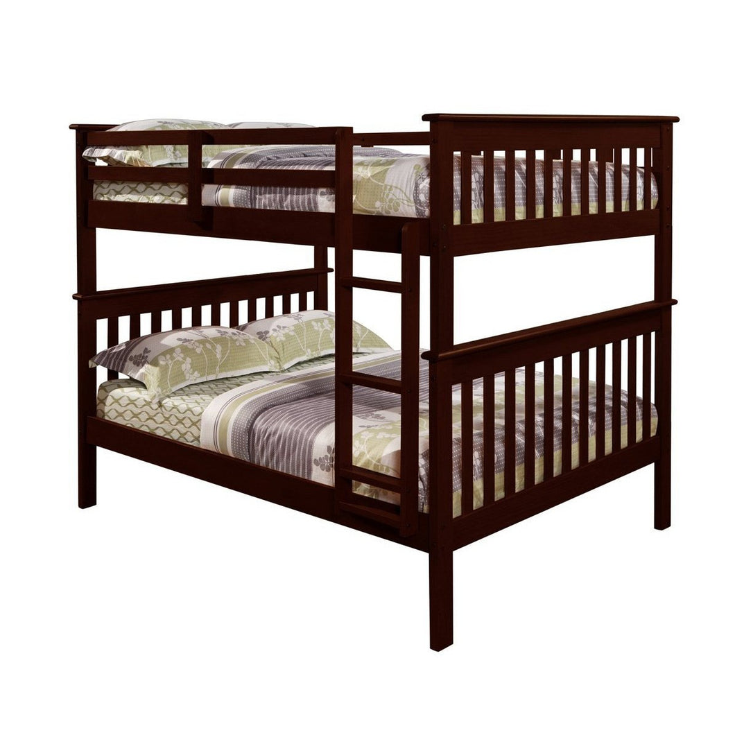 Solid Wood Full Over Full Bunk Bed in Cappuccino Finish