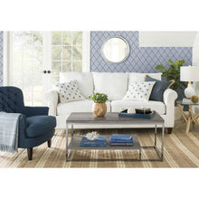 Load image into Gallery viewer, Dark Blue Mid-Century Tufted Upholstered Linen Armchair