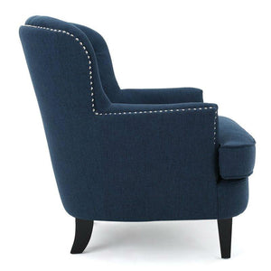 Dark Blue Mid-Century Tufted Upholstered Linen Armchair