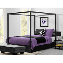 Load image into Gallery viewer, Queen size Modern Canopy Bed in Sturdy Grey Metal