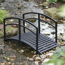 Load image into Gallery viewer, Contemporary Outdoor 4-Ft Metal Garden Bridge in Black Steel with Side Rails