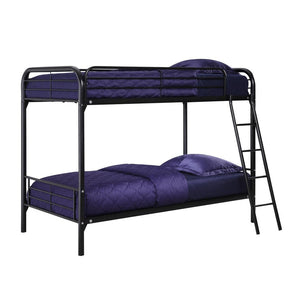 Twin over Twin Bunk Bed with Ladder in Black Metal