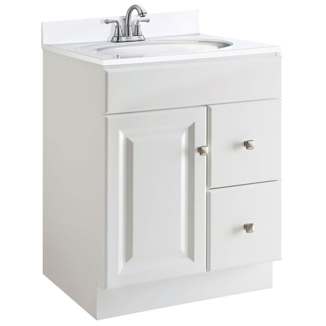 24-inch Modern Bathroom Vanity Cabinet Base in White Semi-Gloss