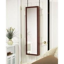 Wall / Door Mount Jewelry Armoire / Full Length Mirror in Cherry Finish