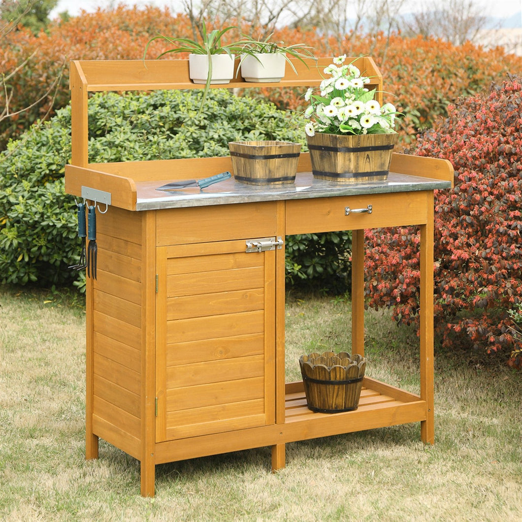 Outdoor Garden Organizer Stainless Steel Top Potting Bench Storage Cabinet