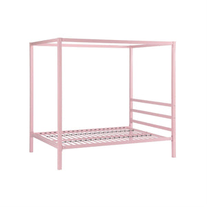 Full size Modern Pink Metal Canopy Bed