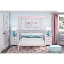 Load image into Gallery viewer, Full size Modern Pink Metal Canopy Bed