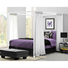 Load image into Gallery viewer, Queen size Sturdy Metal Canopy Bed Frame in White Finish