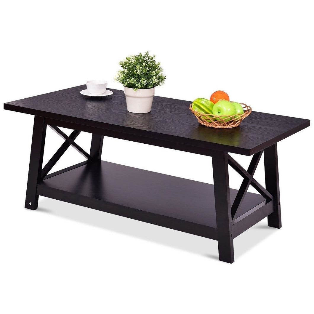 Modern Classic Black Wood Coffee Table with Bottom Shelf