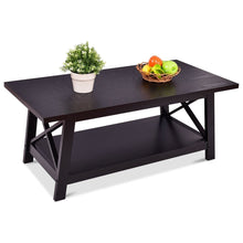 Load image into Gallery viewer, Modern Classic Black Wood Coffee Table with Bottom Shelf