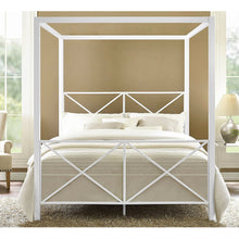 Load image into Gallery viewer, Queen size Sturdy Metal Canopy Bed Frame in White