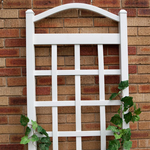 6 Ft White Vinyl Garden Trellis with Arch Top with Ground Mount Anchors