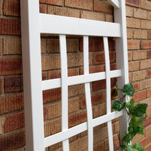 Load image into Gallery viewer, 6 Ft White Vinyl Garden Trellis with Arch Top with Ground Mount Anchors
