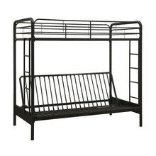 Load image into Gallery viewer, Twin over Full Futon Bunk Bed Sleeper Sofa in Black Metal