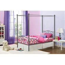 Load image into Gallery viewer, Twin size Metal Canopy Bed in Pewter Grey Finish