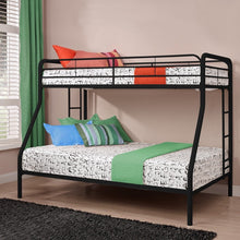 Load image into Gallery viewer, Twin over Full size Bunk Bed in Sturdy Black Metal