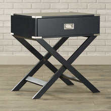 Load image into Gallery viewer, Dark Grey Black 1-Drawer End Table Nightstand with Modern Classic X Style Legs