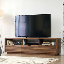 Load image into Gallery viewer, Modern Walnut Finish TV Stand Entertainment Center - Fits up to 70-inch TV