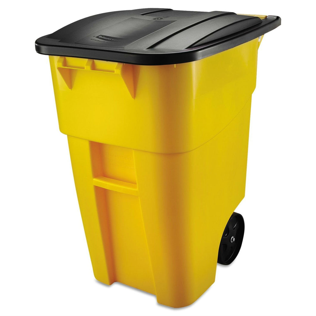 50 Gallon Yellow Commercial Heavy-Duty Trash Can with Black Lid