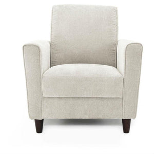 Contemporary Upholstered Arm Chair with Espresso Wood Legs in Ivory