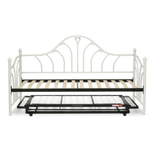Load image into Gallery viewer, Twin size White Metal Daybed Frame with Wood Slats and Pop Up Trundle Bed