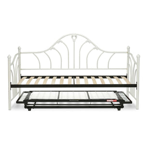 Twin size White Metal Daybed Frame with Wood Slats and Pop Up Trundle Bed