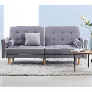 Light Grey Linen Upholstered Sofa Bed Modern Mid-Century Classic