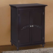 Load image into Gallery viewer, Dark Espresso Wood Bathroom Floor Cabinet with Traditional Crafted Engraving Doors
